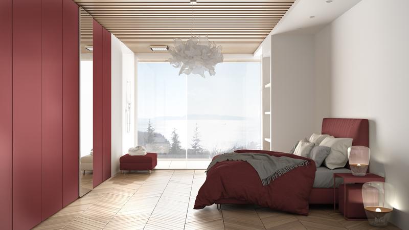 een rode bedframe